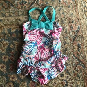Gymboree Seashell Bow Ruffle Swimsuit 6-12 mo